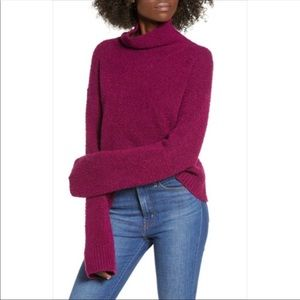 Leith Wool Blend Turtleneck Boucle Knit Sweater